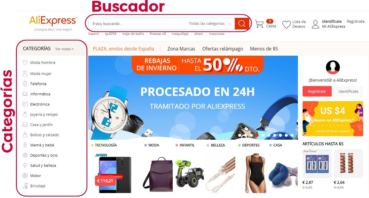 buscar productos Aliexpress